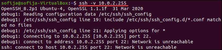 SSH in verbose mode.