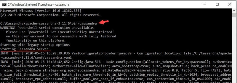 Starting the Cassandra Server from Windows cmd.