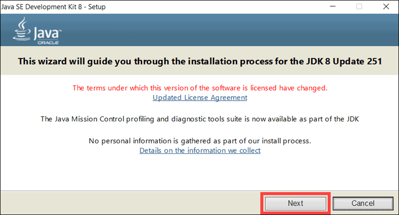 screenshot of the first step to Java 8 installation on Windows