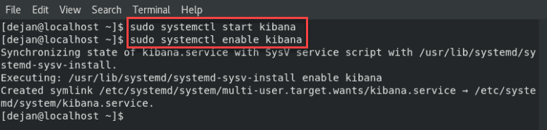 Enable and starting the Kibana service on a centos server