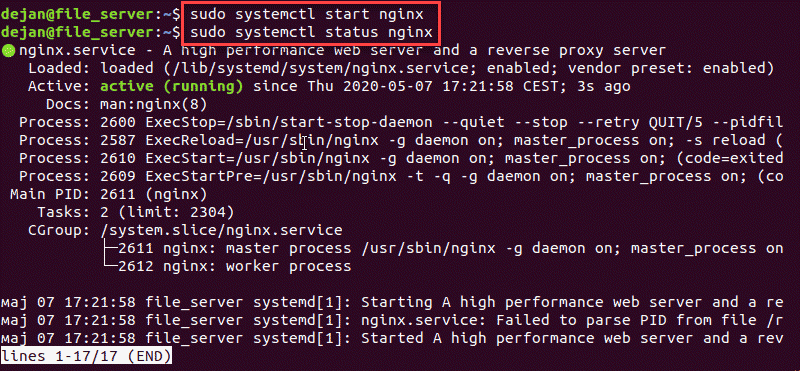 systemctl command to start the Nginx service