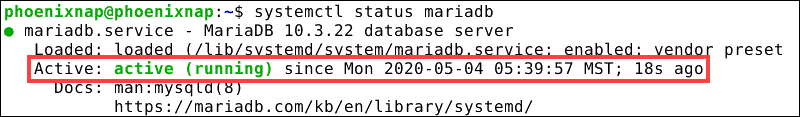System confirms that the MariaDB service is active and running on Debian 10.