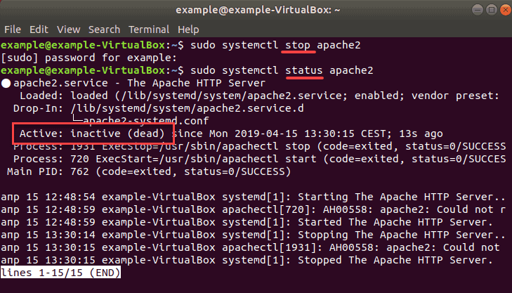 inactive message on apache web server after being stopped