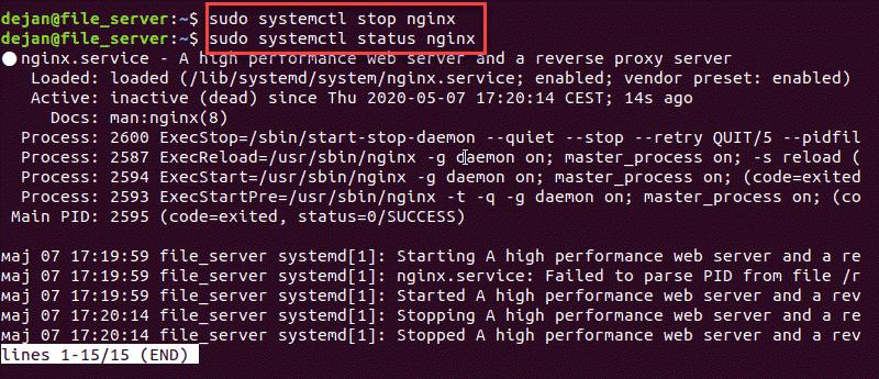 Terminal command to stop an Nginx web server