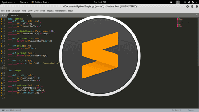 Sublime Text editor with the official Sublime Text logo in the center