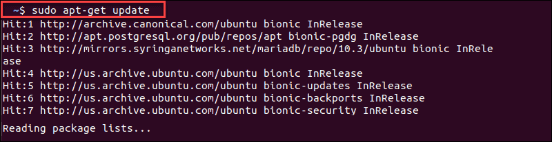 example of apt-get update in ubuntu