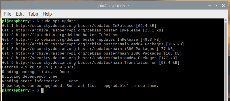 The terminal output for sudo apt update in Raspbian.