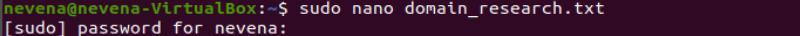Creating a .txt file with sudo nano command.