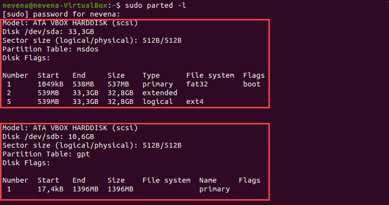 Storage devices and partitions output