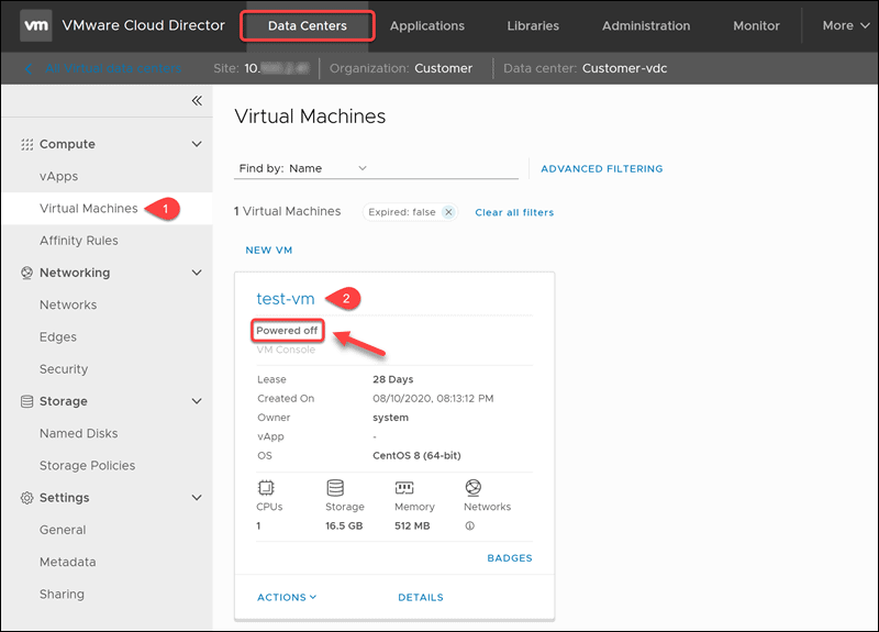 Editing VMs in the Cloud director tenant portal.