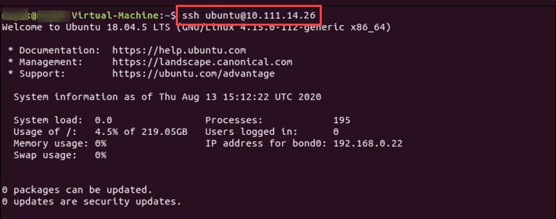 Terminal SSh login to a BMC server