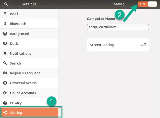 enable sharing turned on ubuntu