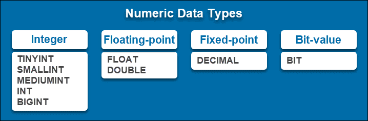 Types of numeric data types.