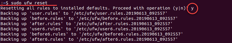 resetting firewall rules with sudo command