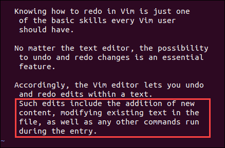Undoing multiple changes in a single command inside vim editor