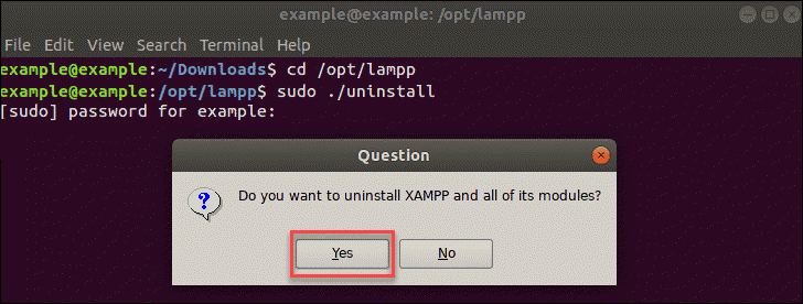 a dialogue box asking you whether you want to uninstall XAMPP