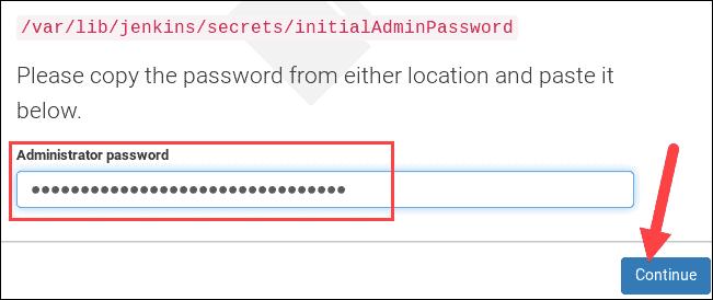 entering Jenkins admin password