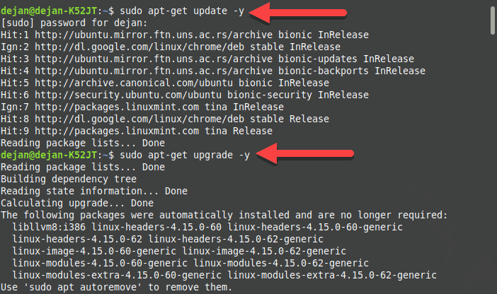 Updating the software package list on Ubuntu.