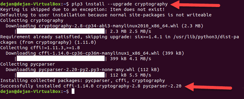 Updating a pip package in a terminal window in Ubuntu.