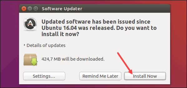 Update software packages on Ubuntu 16.04 via GUI.