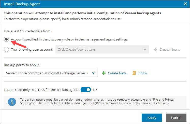 VAC agent specify credentials.