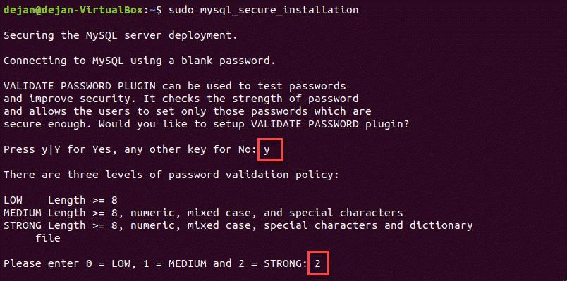 mysql_secure_installation script execution in the terminal