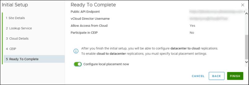 initial setup vcloud availability final step