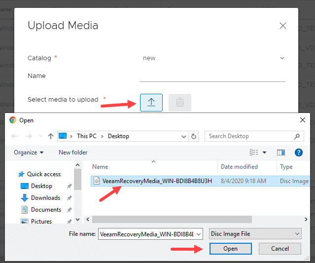 vCloud Director select media to upload