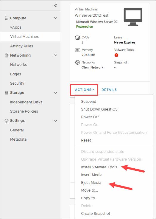 VM menu in vCloud Director