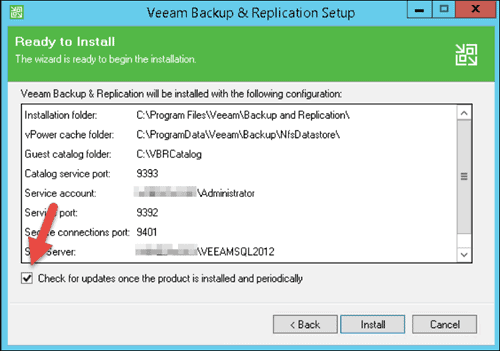 veeam backup and replication setup ready to install and automatic update box