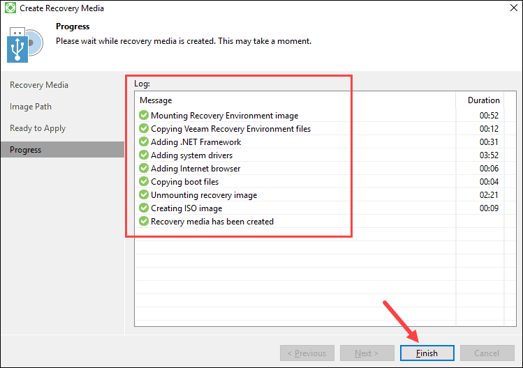 Veeam Recovery Media process completed