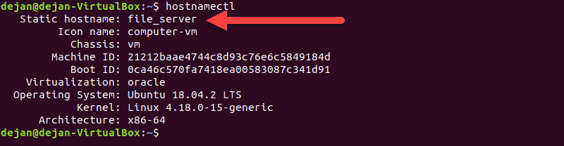 After changing a system's hostname, check it with the hostnamectl command.