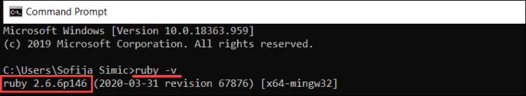 Check Ruby version to verify install