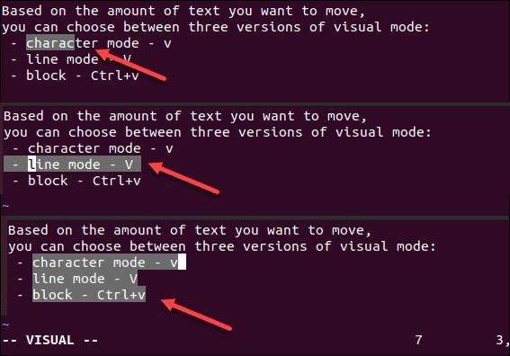 Versions of visual mode in Vim.