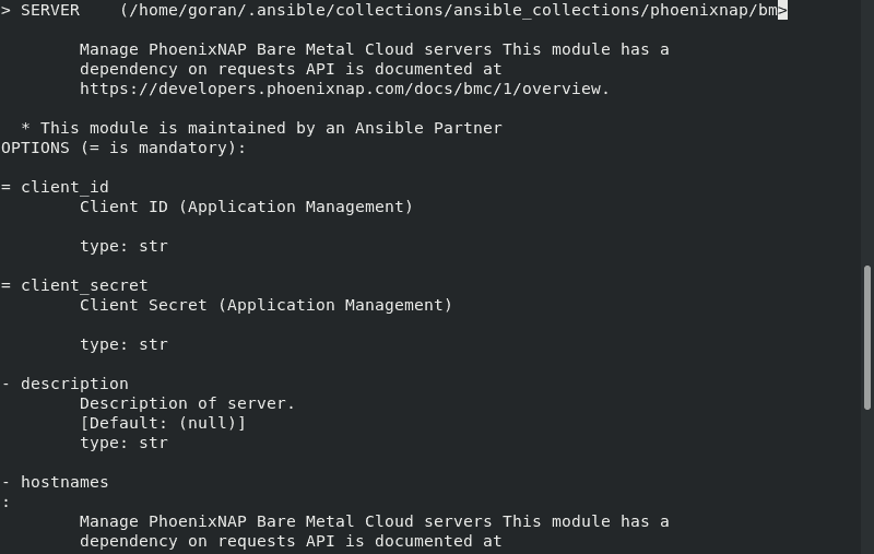 Use Ansible Command to view phoenixNAP BMC Module documentation.