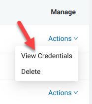 View API credentials link