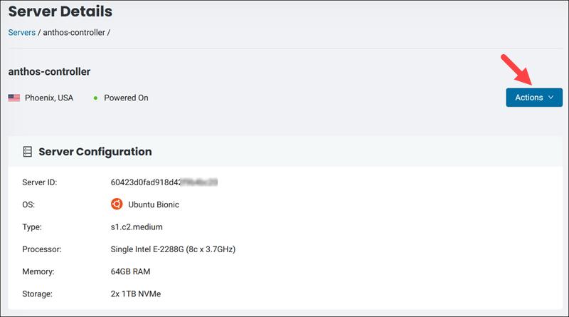 BMC server details page.