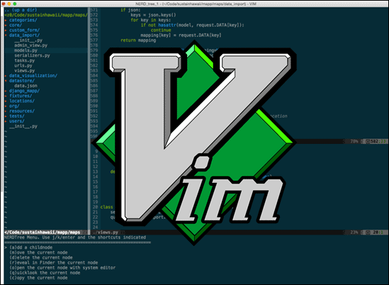 Vim editor with the official logo in the center