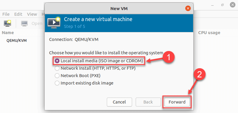 Selecting the option to install from an ISO file in virt manager on Ubuntu 20.04