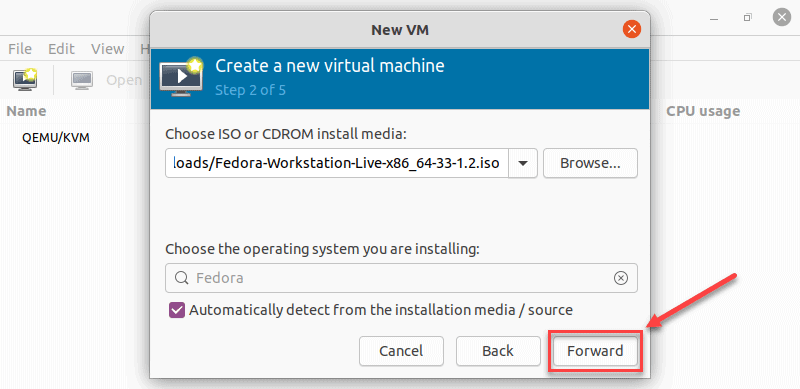 Confirming the ISO selection in virt manager on Ubuntu 20.04