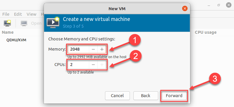 Allocating memory and CPUs in virt manager on Ubuntu 20.04