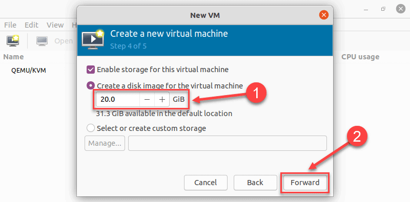 Creating a disk image in virt manager on Ubuntu 20.04
