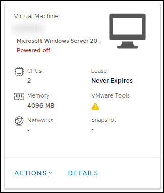 virtual machine entry in vm menu