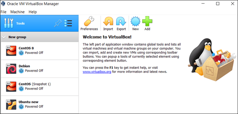 VirtualBox user interface.