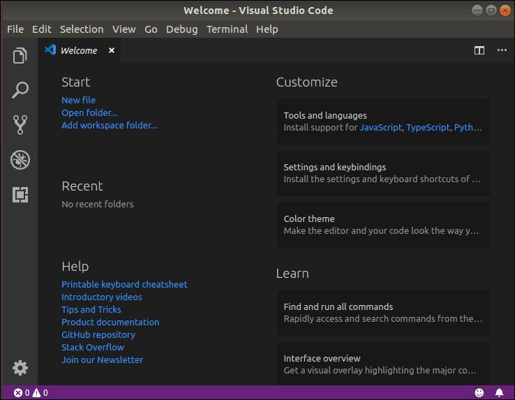 visual studio code welcome menu with help