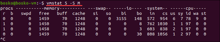 Change output units when using the vmstat command in Linux.
