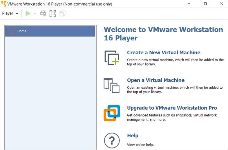 VMware Player user interface.
