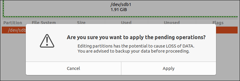 A pop-up containing warning message.