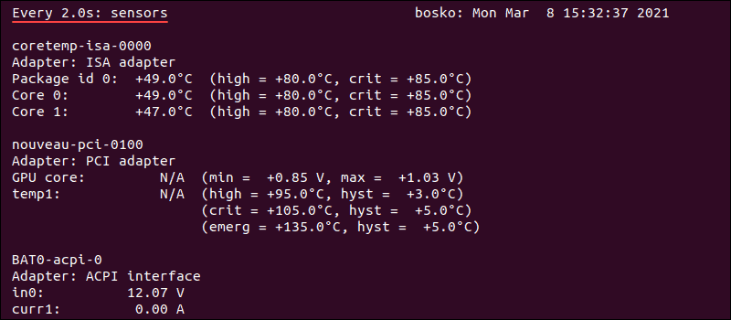 Real-time output in terminal showing CPU temperature on Ubuntu.