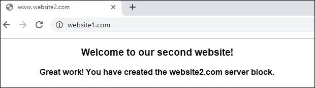 website2 successfully setup on virtual host